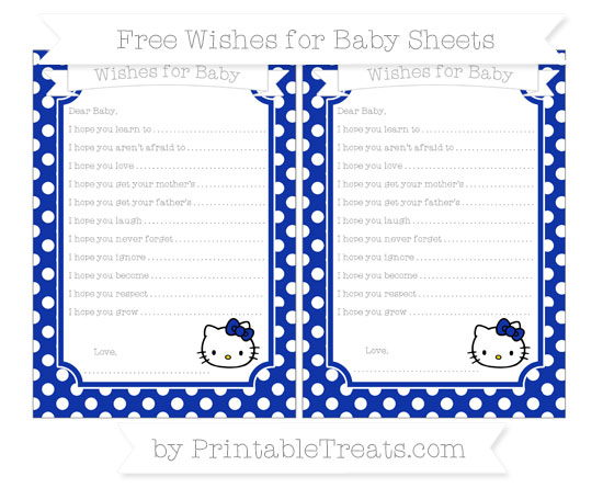 Free Egyptian Blue Polka Dot Hello Kitty Wishes for Baby Sheets