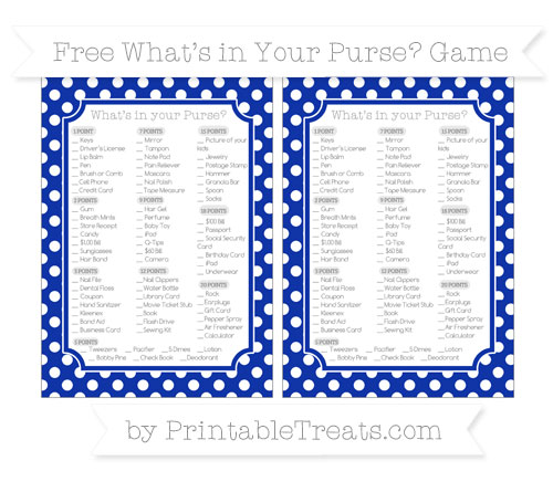 Free Egyptian Blue Polka Dot What's in Your Purse Baby Shower Game