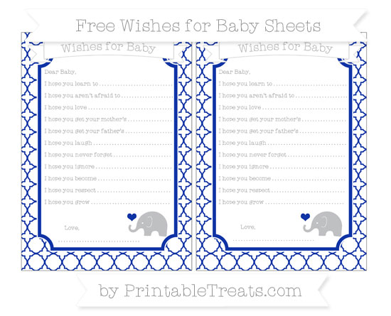 Free Egyptian Blue Quatrefoil Pattern Baby Elephant Wishes for Baby Sheets
