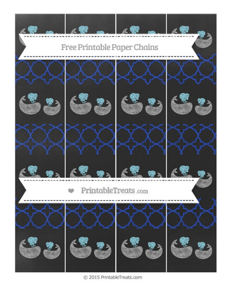Free Egyptian Blue Quatrefoil Pattern Chalk Style Baby Whale Paper Chains