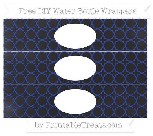 Free Egyptian Blue Quatrefoil Pattern Chalk Style DIY Water Bottle Wrappers