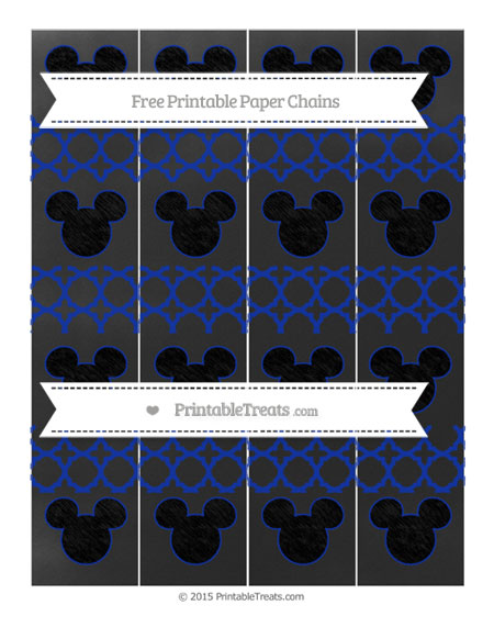Free Egyptian Blue Quatrefoil Pattern Chalk Style Mickey Mouse Paper Chains