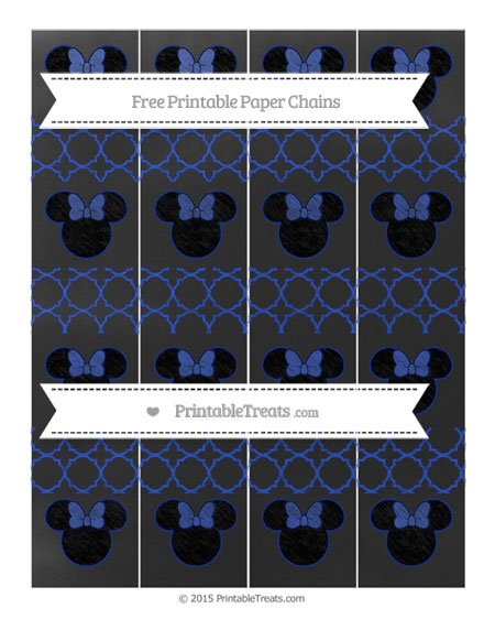 Free Egyptian Blue Quatrefoil Pattern Chalk Style Minnie Mouse Paper Chains
