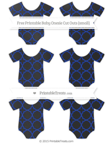 Free Egyptian Blue Quatrefoil Pattern Chalk Style Small Baby Onesie Cut Outs