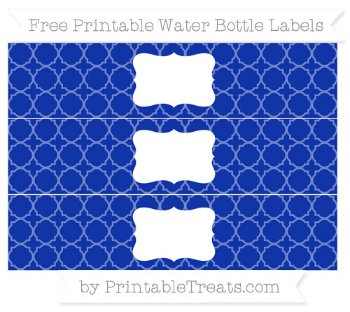 Free Egyptian Blue Quatrefoil Pattern Water Bottle Labels