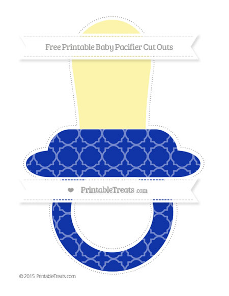 Free Egyptian Blue Quatrefoil Pattern Extra Large Baby Pacifier Cut Outs