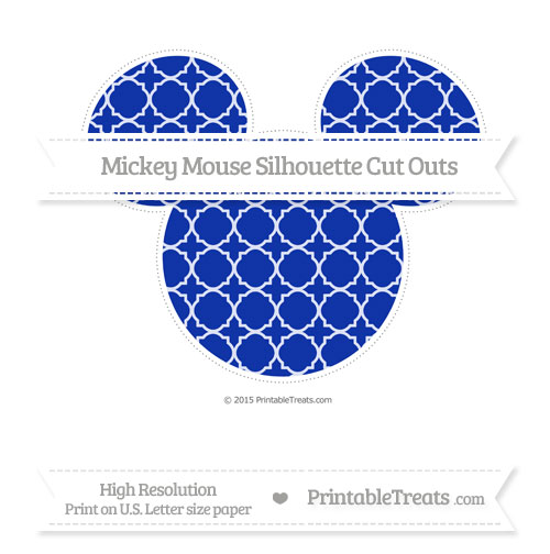Free Egyptian Blue Quatrefoil Pattern Extra Large Mickey Mouse Silhouette Cut Outs