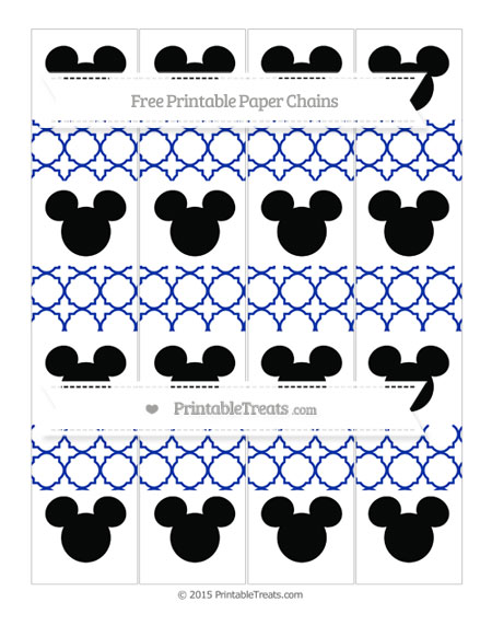 Free Egyptian Blue Quatrefoil Pattern Mickey Mouse Paper Chains