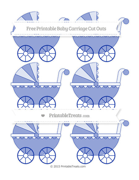 Free Egyptian Blue Small Baby Carriage Cut Outs