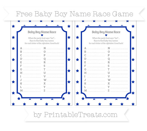 Free Egyptian Blue Star Pattern Baby Boy Name Race Game