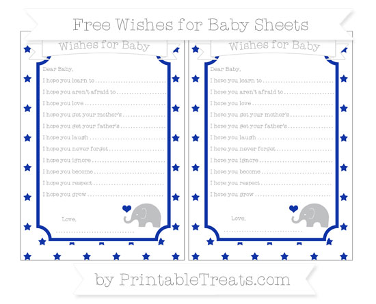 Free Egyptian Blue Star Pattern Baby Elephant Wishes for Baby Sheets