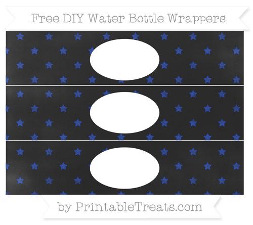 Free Egyptian Blue Star Pattern Chalk Style DIY Water Bottle Wrappers
