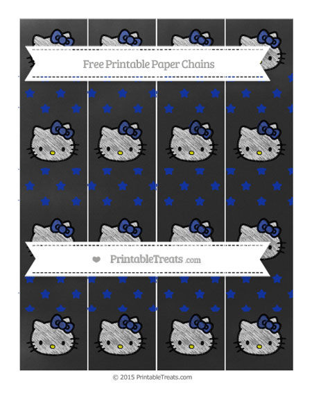 Free Egyptian Blue Star Pattern Chalk Style Hello Kitty Paper Chains