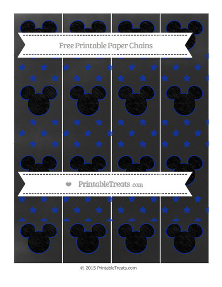 Free Egyptian Blue Star Pattern Chalk Style Mickey Mouse Paper Chains