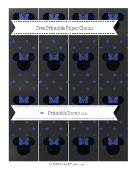 Free Egyptian Blue Star Pattern Chalk Style Minnie Mouse Paper Chains