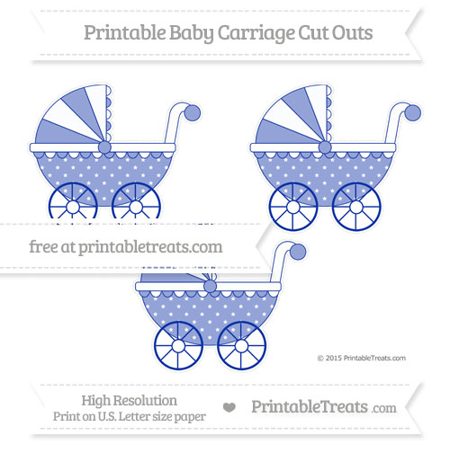 Free Egyptian Blue Star Pattern Medium Baby Carriage Cut Outs