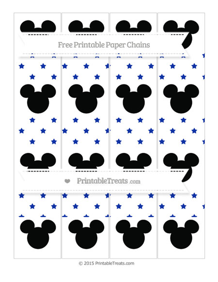 Free Egyptian Blue Star Pattern Mickey Mouse Paper Chains
