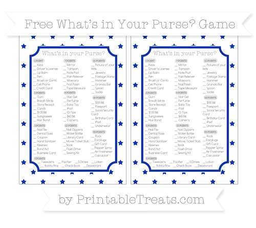 Free Egyptian Blue Star Pattern What's in Your Purse Baby Shower Game