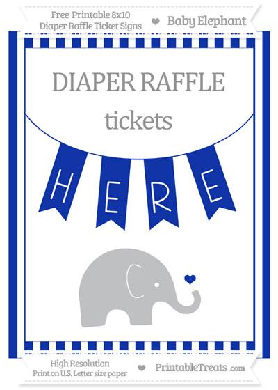 Free Egyptian Blue Striped Baby Elephant 8x10 Diaper Raffle Ticket Sign