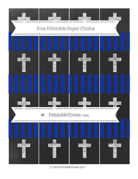 Free Egyptian Blue Striped Chalk Style Cross Paper Chains