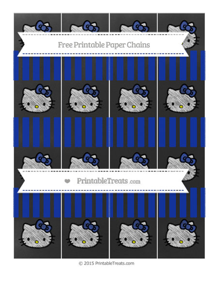 Free Egyptian Blue Striped Chalk Style Hello Kitty Paper Chains