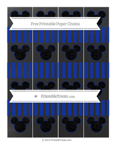Free Egyptian Blue Striped Chalk Style Mickey Mouse Paper Chains