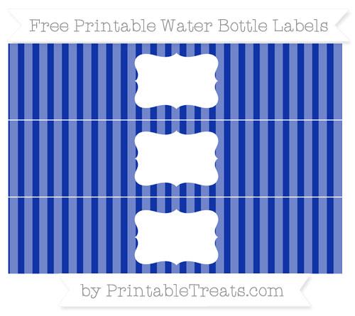 Free Egyptian Blue Striped Water Bottle Labels