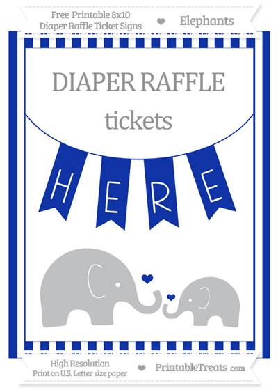 Free Egyptian Blue Striped Elephant 8x10 Diaper Raffle Ticket Sign