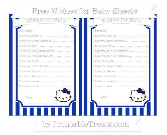 Free Egyptian Blue Striped Hello Kitty Wishes for Baby Sheets
