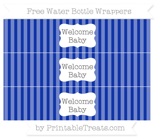 Free Egyptian Blue Striped Welcome Baby Water Bottle Wrappers