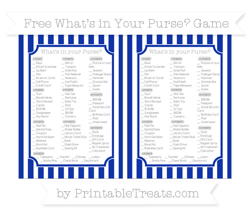Free Egyptian Blue Striped What's in Your Purse Baby Shower Game