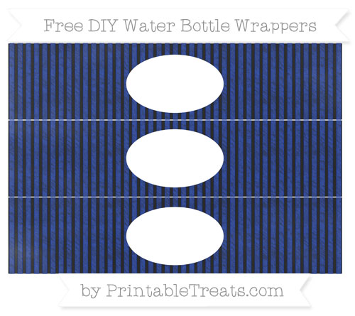 Free Egyptian Blue Thin Striped Pattern Chalk Style DIY Water Bottle Wrappers