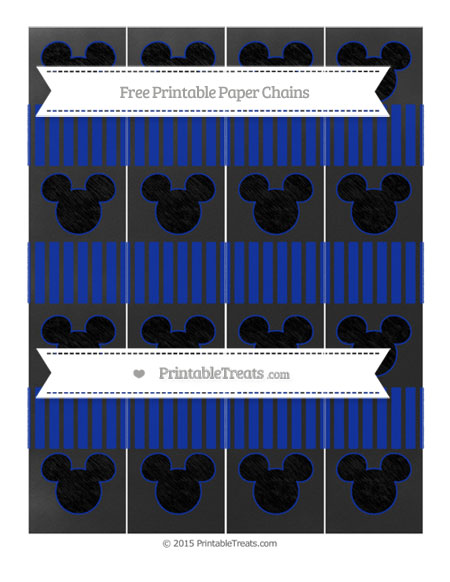 Free Egyptian Blue Thin Striped Pattern Chalk Style Mickey Mouse Paper Chains