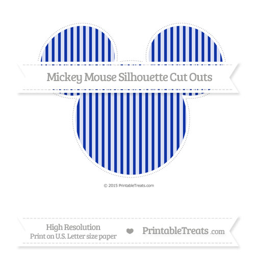 Free Egyptian Blue Thin Striped Pattern Extra Large Mickey Mouse Silhouette Cut Outs