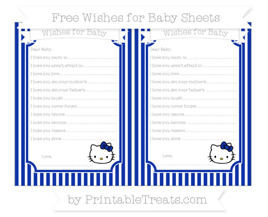 Free Egyptian Blue Thin Striped Pattern Hello Kitty Wishes for Baby Sheets