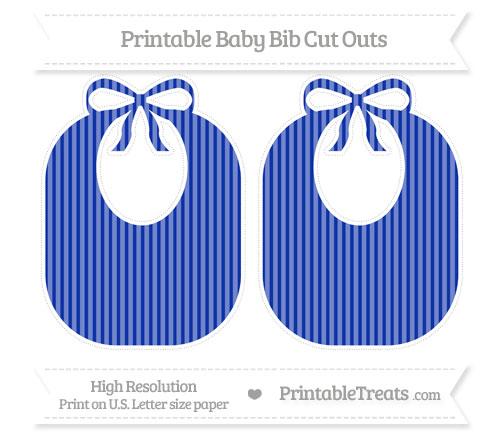 Free Egyptian Blue Thin Striped Pattern Large Baby Bib Cut Outs