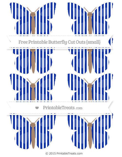 Free Egyptian Blue Thin Striped Pattern Small Butterfly Cut Outs
