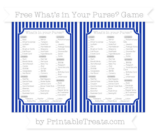 Free Egyptian Blue Thin Striped Pattern What's in Your Purse Baby Shower Game