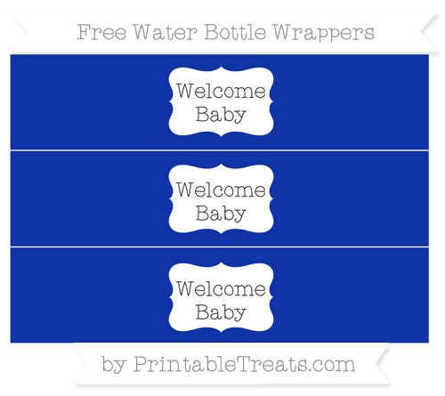 Free Egyptian Blue Welcome Baby Water Bottle Wrappers