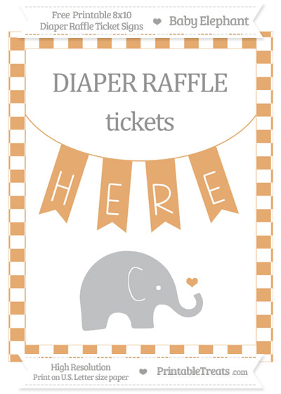 Free Fawn Checker Pattern Baby Elephant 8x10 Diaper Raffle Ticket Sign