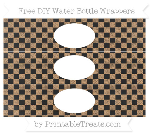 Free Fawn Checker Pattern Chalk Style DIY Water Bottle Wrappers