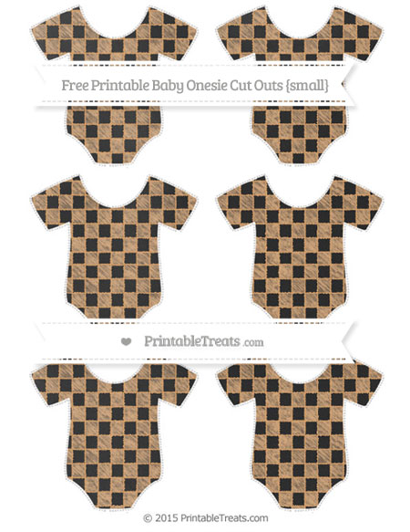 Free Fawn Checker Pattern Chalk Style Small Baby Onesie Cut Outs