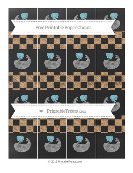 Free Fawn Checker Pattern Chalk Style Whale Paper Chains