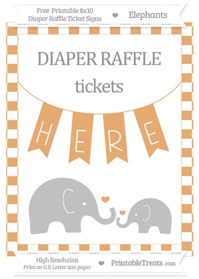Free Fawn Checker Pattern Elephant 8x10 Diaper Raffle Ticket Sign
