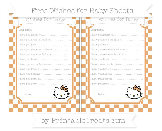 Free Fawn Checker Pattern Hello Kitty Wishes for Baby Sheets