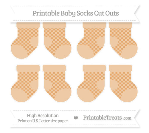 Free Fawn Checker Pattern Small Baby Socks Cut Outs