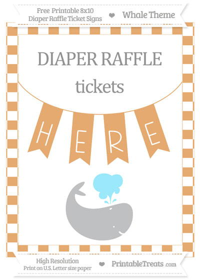 Free Fawn Checker Pattern Whale 8x10 Diaper Raffle Ticket Sign