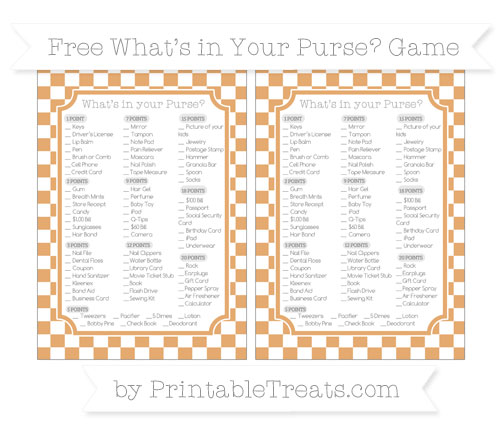 Free Fawn Checker Pattern What's in Your Purse Baby Shower Game
