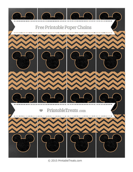 Free Fawn Chevron Chalk Style Mickey Mouse Paper Chains