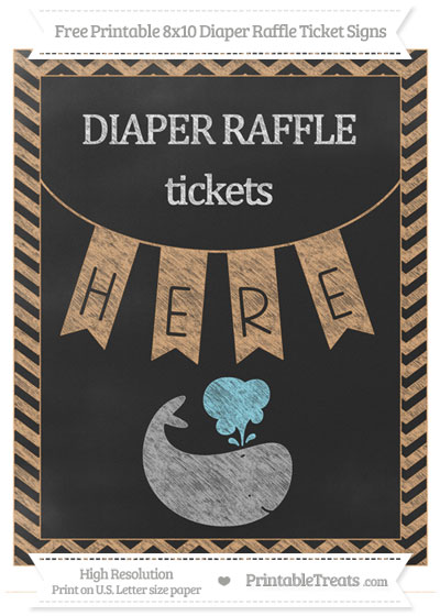Free Fawn Chevron Chalk Style Whale 8x10 Diaper Raffle Ticket Sign